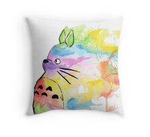Rainbow Totoro  Throw Pillow