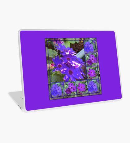 Cinerarias Dreaming - Blumencollage in Lila und Blau Laptop Skin