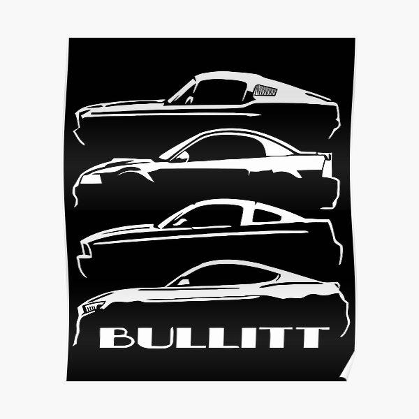 1968 2001 2008 2019 Ford Mustang BULLITT Évolution Poster