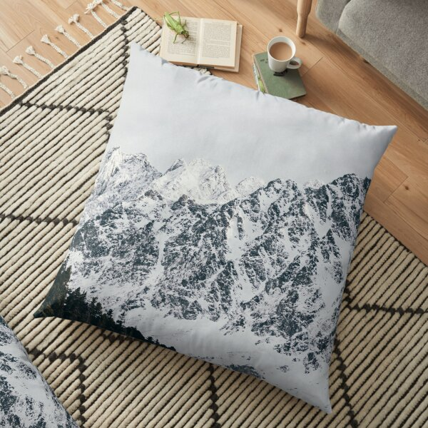 Mountain Covered In Snow Floor Pillow