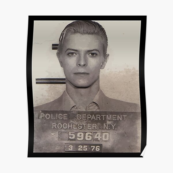 David Bowie Mugshot Hombres Póster
