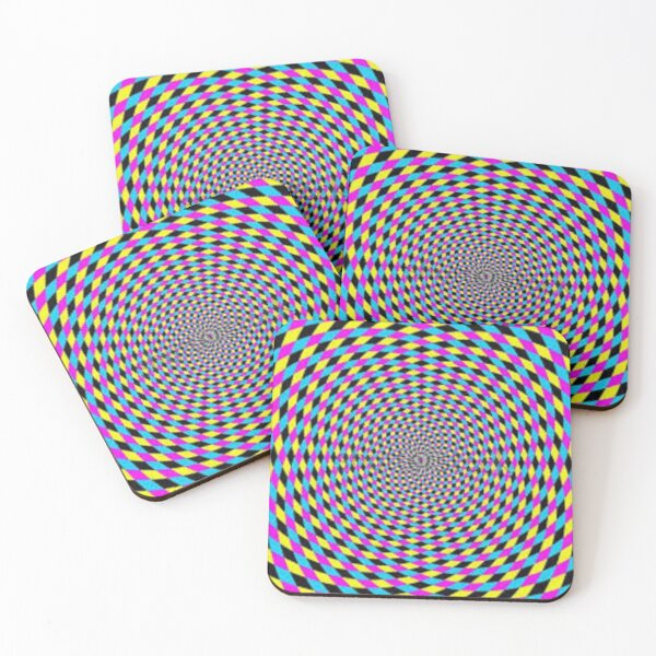 Colorful vortex spiral - hypnotic CMYK background, optical illusion Coasters (Set of 4)