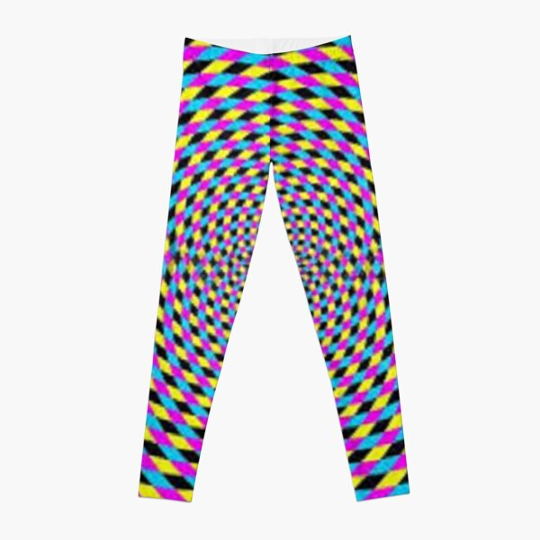 Colorful vortex spiral - hypnotic CMYK background, optical illusion Leggings