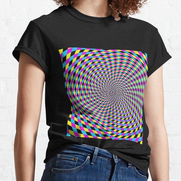 Colorful vortex spiral - hypnotic CMYK background, optical illusion Classic T-Shirt