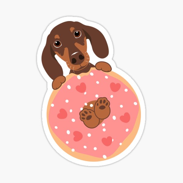 Love Chocolate Dachshund Sausage Dog and Donut Sticker