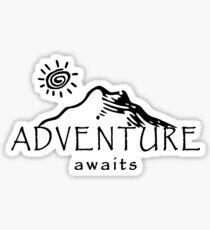 Adventure Awaits - Mountain and Sun ( Dark Version)  Sticker
