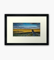 Landscape: wind turbines, kangaroos and a dry lake Framed Print