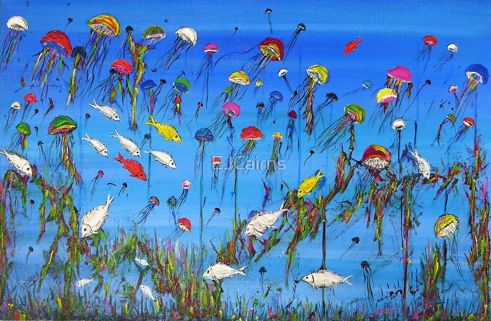 """""""JellyFish Reef""""  Original Acrylic Painting won the Peoples Choice award in Fremantle Exhibition. SOLD by EJCairns"""
