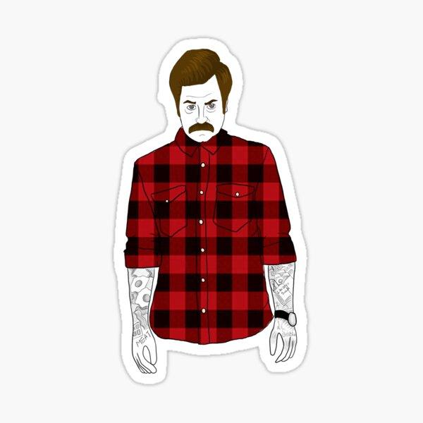 Hipster Ron Swanson (Flannel)  Sticker