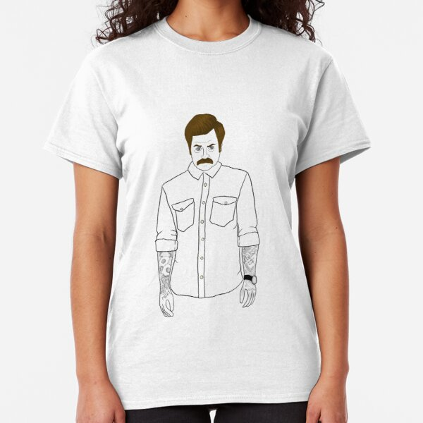 Hipster Ron Swanson (Clear) Classic T-Shirt