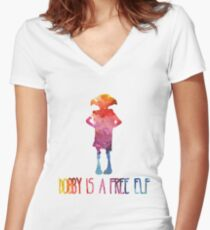 Dobby Is A Free Elf - Colourful Silhouette Women's Fitted V-Neck T-Shirt