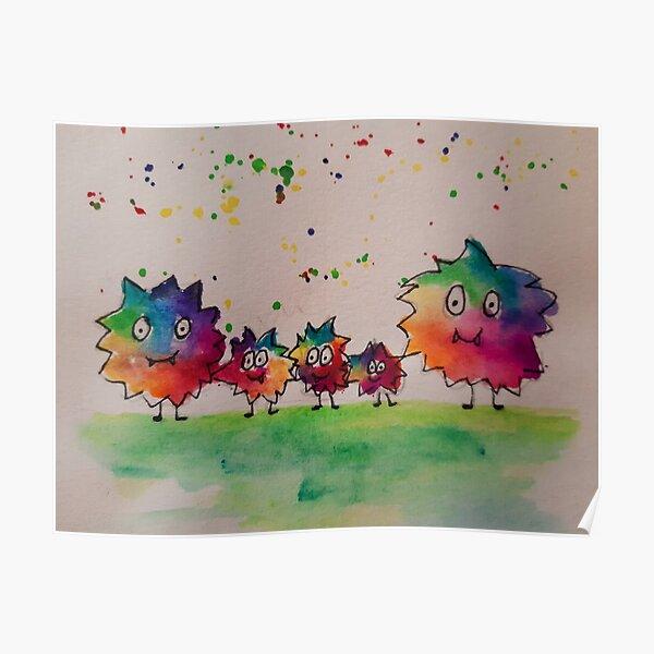 Little rainbow monster family - Pura Vida Poster