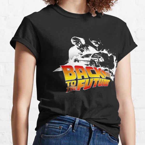 Back to the Future - DeLorean Fire Tracks, Marty and Doc Stencil Fan Art Classic T-Shirt