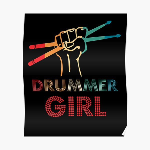 Drummer Girl Retro Vintage Drumming Musician Percussionist Poster