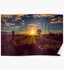 Sunset through the fenceline Poster