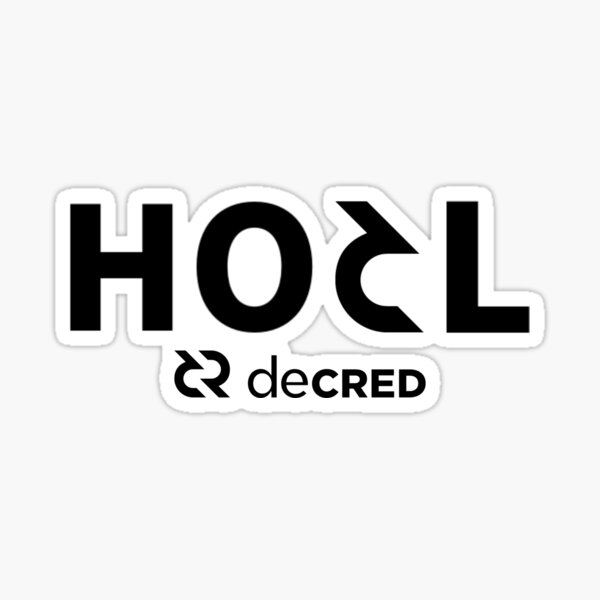HODL Decred ™ v2 'Design timestamped by https://timestamp.decred.org/' Sticker