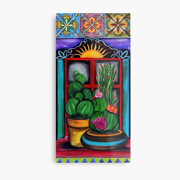 CACTUS BY WINDOW WATERCOLOR - original color version Metal Print