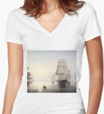 Fitz Henry Lane - Boston Harbor Sunset  Women's Fitted V-Neck T-Shirt