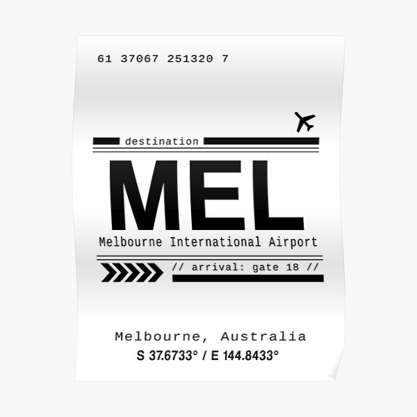 Melbourne, Australia International Airport Print Poster