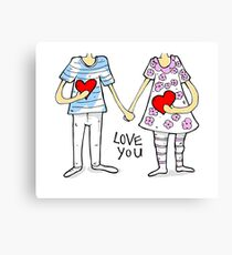 Cartoon couple Canvas Print