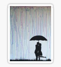 Kissing in the Rain Watercolor Sticker