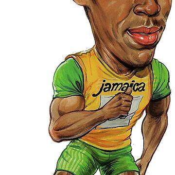Usain Bolt Running Drawing  by Mauro6
