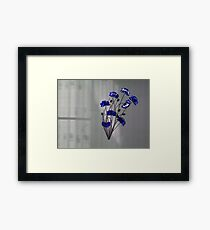 Wall flowers Blue on texture background Framed Print