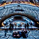 Fun young Ladies by Chicago's cloud gate by Sven Brogren