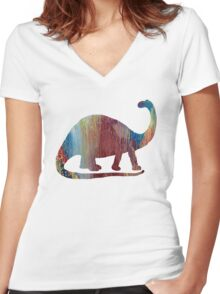 brontosaurus Women's Fitted V-Neck T-Shirt