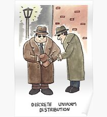 Discrete Uniform Distribution - Maths Pun Watercolour Card Poster