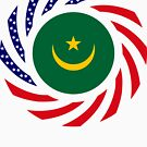 Mauritanian American Multinational Patriot Flag Series by Carbon-Fibre Media