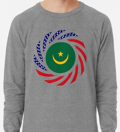 Mauritanian American Multinational Patriot Flag Series Lightweight Sweatshirt