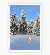 A fox in the snow. Sticker