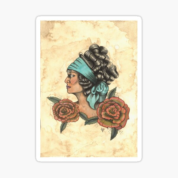 Woman With Two Roses Sticker