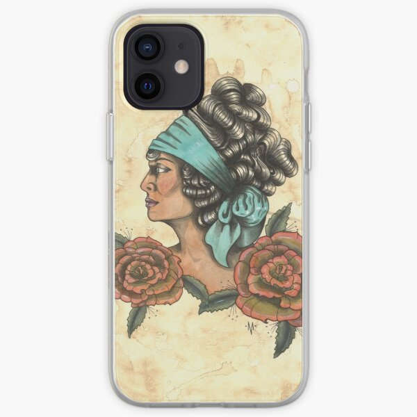 Woman With Two Roses iPhone Soft Case