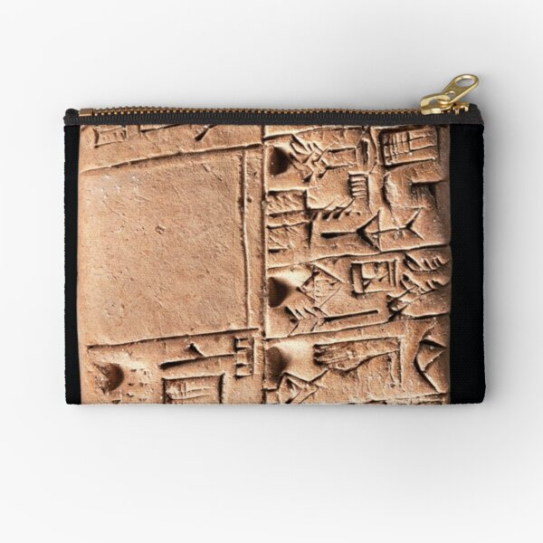 A Mesopotamian proto-cuneiform clay tablet with account of monthly rations, Late Uruk period, circa 3100-3000 BC. Zipper Pouch