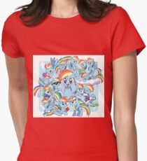 Every Rainbow Dash EVER Womens Fitted T-Shirt