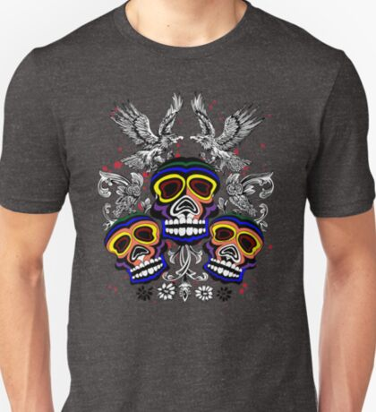 Colorful Tribal Skulls With Owls and Eagles T-Shirt