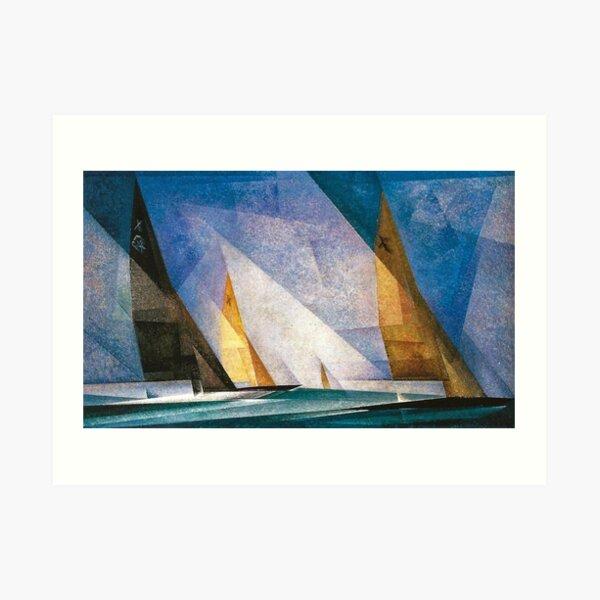 Segelboote nautische, maritime Landschaftsküstenmalerei von Lyonel Feininger Kunstdruck