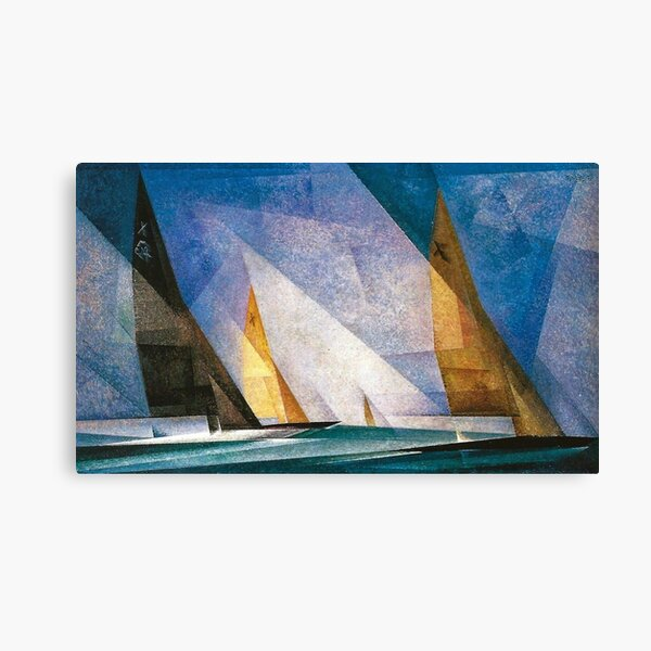 Sailboats nautical, maritime landscape coastal painting by Lyonel Feininger Canvas Print