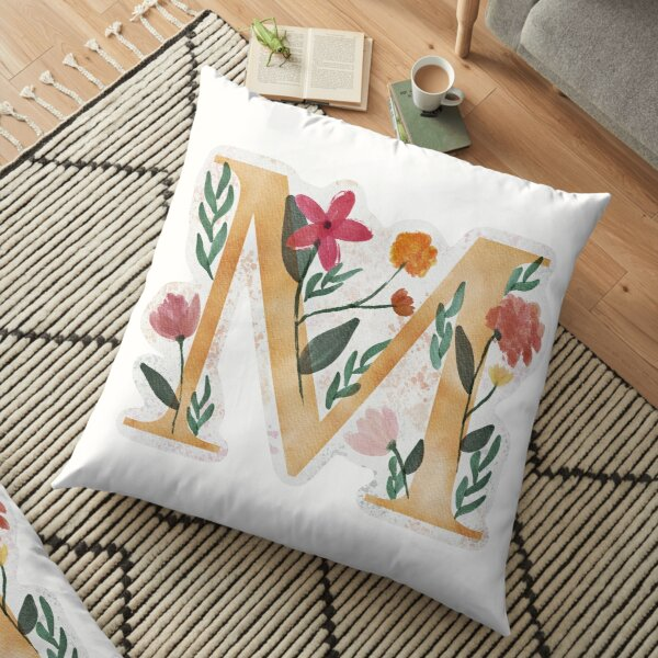 M with Watercolor Flowers Floor Pillow