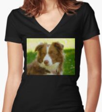 Agility & Intensity Are My Middle Names!! - Border Collie - NZ Women's Fitted V-Neck T-Shirt