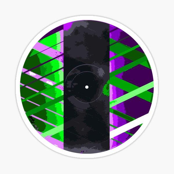 Purple & Green 90s Lines Glossy Sticker