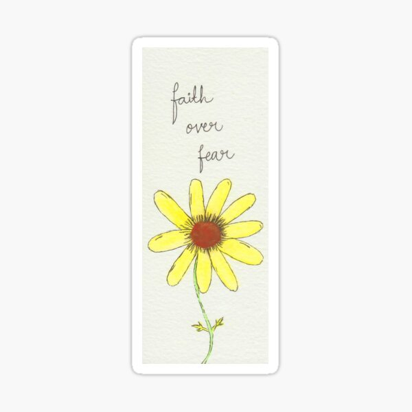 """""""Faith Over Fear"""" - Inspirational Quote Illustration Sticker"""