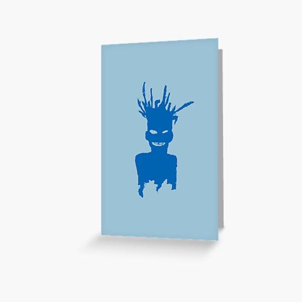 Jean Michel B - Self-Portrait - Electric Blue Lemonade/Aquamarine Greeting Card