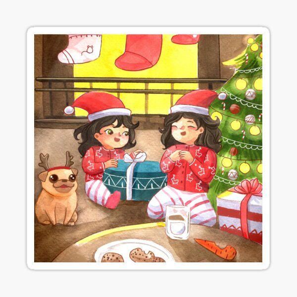 Christmas Morning Presents with Mom, Daughter, and Family Dog Watercolor Painting Sticker