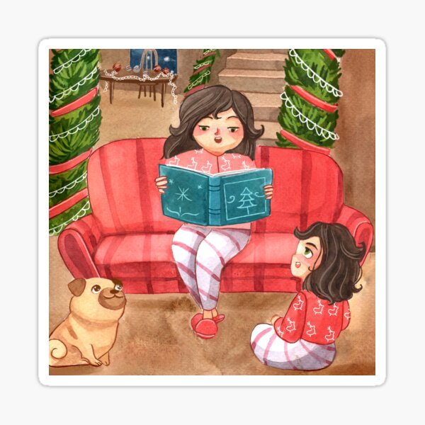Mom Reading Christmas Stories to Daughter and Family Dog Watercolor Art Sticker