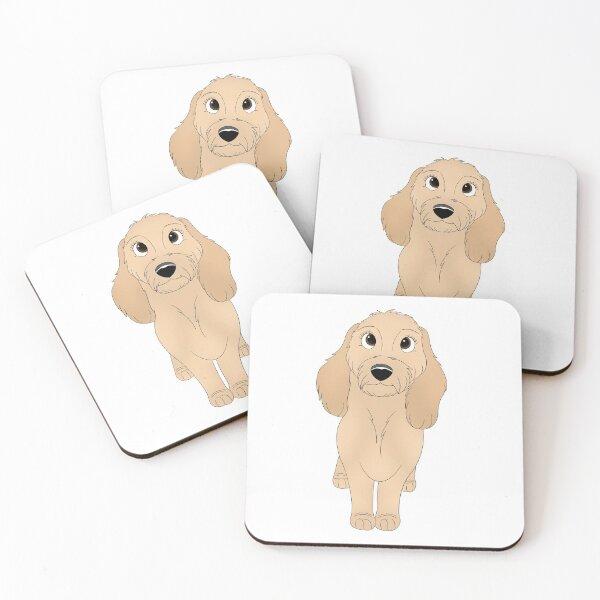 Cartoony Golden Doodle Illustration Coasters (Set of 4)