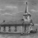 Drawing of Old Limestone Church by Pam Humbargar