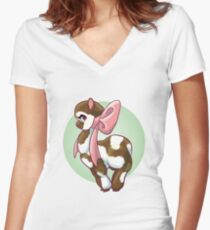 Cutie Bow Llama Women's Fitted V-Neck T-Shirt